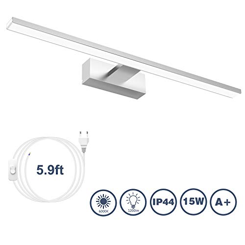LED Spiegelleuchte Badezimmer Spiegelleuchte 60cm, VITCOCO 15W 1200lm 6000k Alles Aluminium Bad Spiegel Lampe Mit Schalter LED Make-up Light Neutralweiß IP44 wasserdicht [Energieklasse A+]