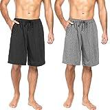 Ekouaer Pantalones cortos de pijama para hombre, pantalones de pijama para verano, pantalones para dormir, con bolsillos, 2 unidades, S - XXL Gris oscuro + gris claro. L
