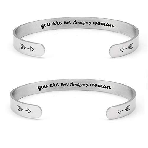 AIORNIY Damen MäNner Armband,Mode Handmade Hollow AnhäNger Armband Titan Stahl Armreif für Mama Partner Paare Charm Geschenk Schmuck