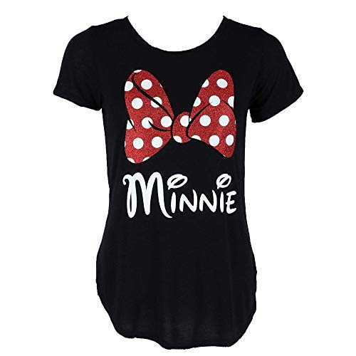 Minnie Mouse Damen T-Shirt Glitter Bow - Schwarz - X-Groß