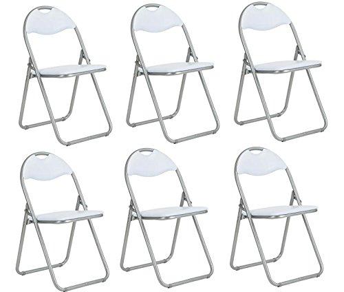 Homy Casa - Juego de 6 sillas de oficina plegables de piel sintética...