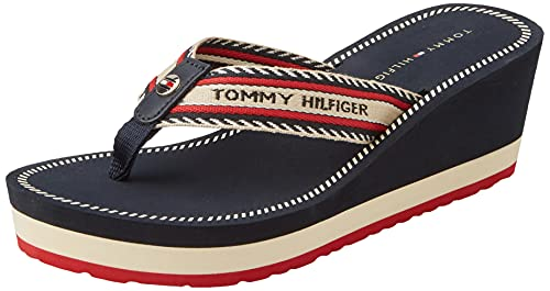 Tommy Hilfiger TH Artisanal Wedge Beach Sandal, Sandalias Planas Mujer, Dalya 34d, 38.5 EU
