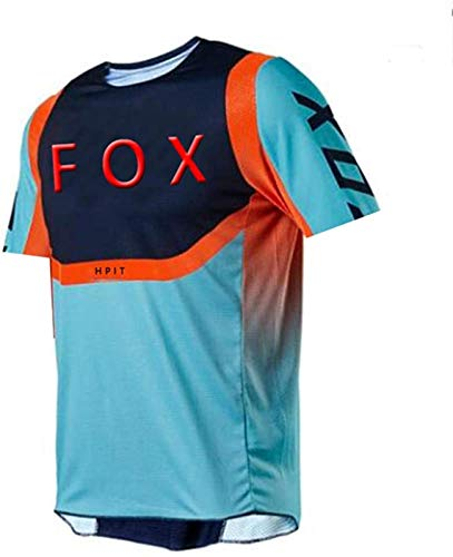 Fox MTB Jersey, MTB Jersey de Manga Larga para Hombres, Jerseys de Descenso para Hombres Hpit Fox Mountain Bike MTB Camisas Offroad Dh Motocicleta Jersey Motocross Sportwear Ropa 4XL
