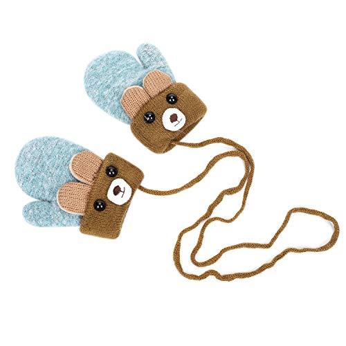Moufles Enfant Gants de Ski Hiver pour Garçons Filles Bébé Épaisses Gants en Tricoté Polaire avec la Corde Tour du Cou Gloves Motif Ourse Mignon Gants Chauds Doux Confort Cadeau de Noël 1-3 Ans