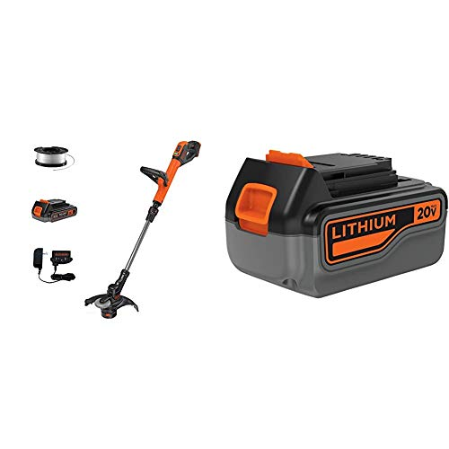 beyond by BLACK+DECKER 20V MAX String Trimmer/Edger Kit, 12-Inch with Extra 4.0 Ah Lithium Battery Pack (LST522E1AEV & LB2X4020)