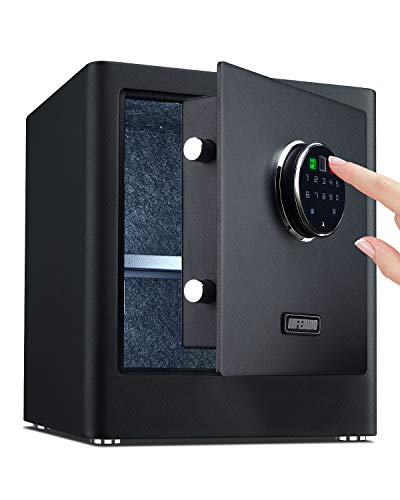 AIFEIBAO Deluxe Small Home security safe box with Biometric Fingerprint Lock,Electronic Digital code, Storage Cash, Jewelry, Hand Gun, Ammo, Valuables (Black-0.9 Cubic Feet)