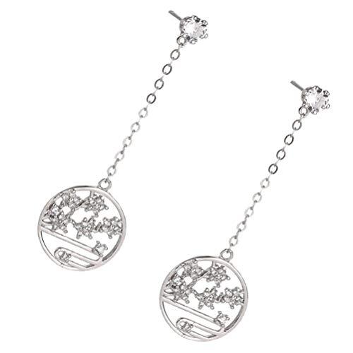 VALICLUD 1 par de Pendientes Colgantes de Flor de Ciruelo Chino Pendientes de Broche de Diamantes de Imitación Pendiente de Gota de Circonio Moda Día de San Valentín Regalo de Joyería para