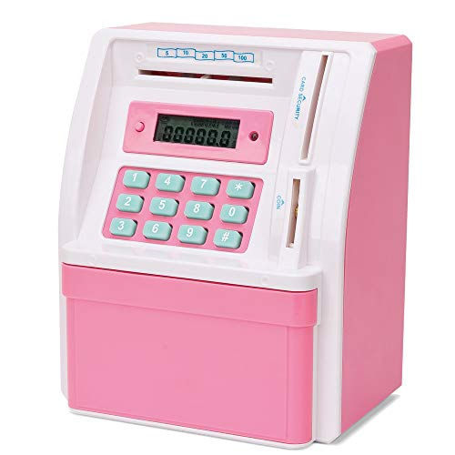 TUSEASY ATM Piggy Bank Coin Cash Mini Digital Savings Money Banks Great Gift for Children with Debit Card Password Voice Prompt (Pink)