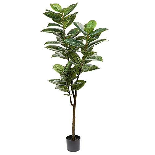 """59"""" Artificial Rubber Tree Fake Tree Tall Plant Faux Trees Indoor Large Greenery Floor Plants in Pots Faux Ficus Lyrata for Home Office House Room Decor"""