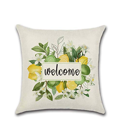 Fruit Series Zl-8573 Summer Lemon Truck Pillow Sofa Cushion Cover Decorative Pillow Flower Linen Throw Pillow Home Decoration Pillow