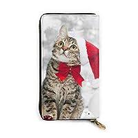 Christmas Cat In Red Santa's Hat レザーラウンドファスナー長財布メンズ 牛革大容量収纳 整理 財布 小钱包 本革さいふ 紳士 Long Wall