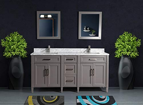 Vanity Art 72 Inches Double Sink Bathroom Vanity Set Carrara Marble Stone Top Dove-Tailed Drawers Soft Closing Doors Under-Mount Rectangle Sink Cabinet with Free Mirrors VA2072-DG