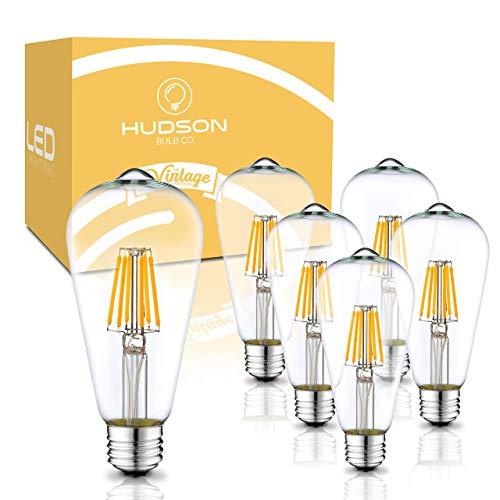 Hudson Vintage LED 6W Edison Light Bulbs (6 Pack) - 2700K Dimmable White Lightbulbs (60W Equivalent) - E26/E27 Base Amber Gold Tint Glass - ST58 Style Filament Light Bulb Set