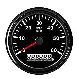 Waterproof Tachometer Gauge 6000 RPM Tacho Meter with LCD Digital Hour Meter Red Backlight for Outboard Car Truck Marine Boat Diesel Engine 9-32V 85MM