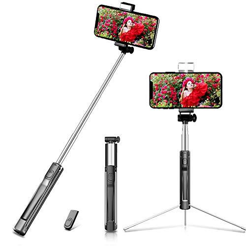 自撮り棒 三脚 セルカ棒 bluetoothリモコン スマホ自撮り棒 シャッター付き 360度回転 軽量 無線 三段補光ライト じどり棒 iPhone Android セルフィースティックiPhone7 iphone8 plus iphone xなど対応(