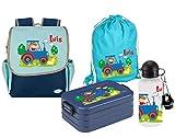 Mein Zwergenland Set 5 Kindergartenrucksack mit Brotdose, Turnbeutel und Trinkflasche Happy Knirps Next mit Name Blau (Traktor Bauernhof)