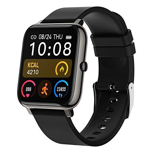 LIEBIG Smart Watch, Smartwatch Orologio Intelligente Fitness Tracker Uomo Donna Cardiofrequenzimetro da Polso Saturimetro Bluetooth Orologio Sportivo Impermeabile IP67 Calorie Pedometro (Nero)