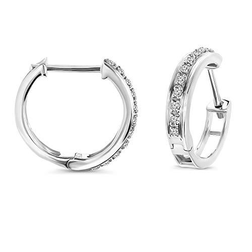 Miore Ohrringe Damen 0.07 Ct Diamant Creolen aus Weißgold 9 Karat / 375 Gold, Ohrschmuck mit Diamanten Brillanten