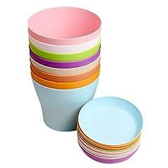 Idea Regalo - KINGLAKE 8 Pezzi 10 cm Colorati vasi in plastica per Fiori, per Interni, Ufficio e casa con vassoi