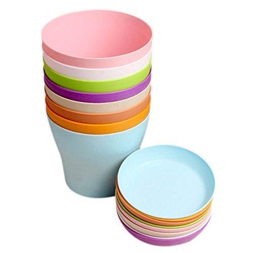 KINGLAKE 8 Pezzi 10 cm Colorati vasi in plastica per Fiori, per Interni, Ufficio e casa con vassoi
