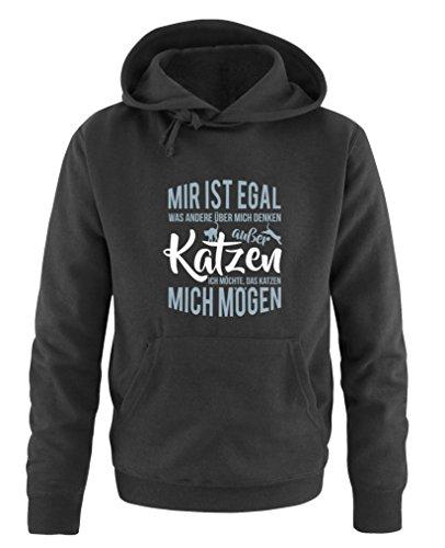 Comedy Shirts - « Mir ist egal was Autres über Mich Denken, sauf Chat » - Sweat à capuche pour homme - capuche, poche kangourou, manches longues, pull imprimé - Noir - XXXXL