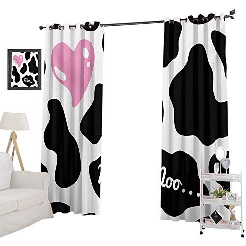 YUAZHOQI Curtains for Living Room Camouflage Hide Pattern in Black and White with Cute Pink Heart Shape Moo Noise Reducing Curtain 52' x 108' Pink Black White