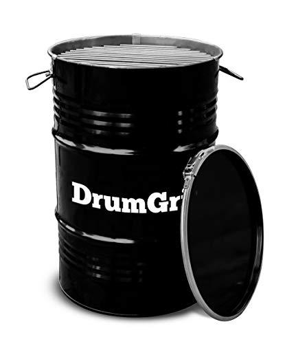 DrumGrill Small Mutlifunktional Stahl Öl Fass BBQ Holzkohle Grill, Feuerstelle, Gartenmöbel. Leichter Barbecue Grill für Picknicks, Camping, Garten- und Strandparties. Größe 40 x 40 x 56cm