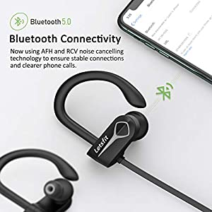 Letsfit Bluetooth Headphones IPX7 Waterproof 15Hrs Playtime Wireless Earbuds, Bluetooth 5.0 Running Headphones, HiFi Stereo in-Ear Earphones w/Mic Noise Cancelling for Sports, Workout, Gym