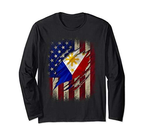 Filipino American Flag Filipino Blood Inside Me Gift Long Sleeve T-Shirt