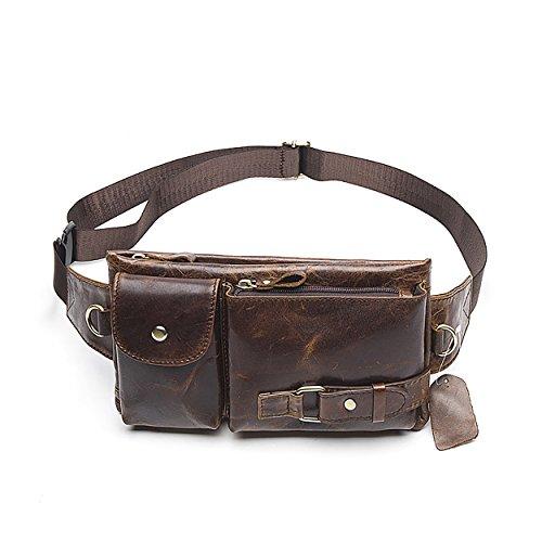 Men's Leather Fanny Pack Waist Bags Vintage Utility Belt Bag Crossbody Hip Purse