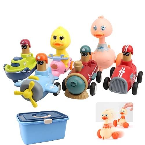 Coche de Juguete para Bebés Juguetes Vehículos de Construcción para Niño de 1 2 3 Años Niños Pequeños de 12 a 18 Meses, 6 Piezas de Juguetes de Coche, Pato, Bicicleta, Coche, Tren, Avión, Barco