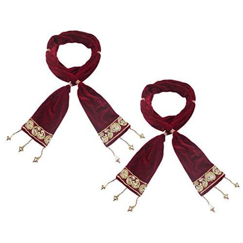 Krypmax Men's Velvet Stole for Groom, (Pack of 2), Dupatta for Dulha/Sherwani Stole/Chunni for Weeding & Religious Occasion