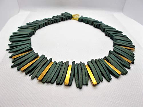 Collier Kokosnuß grün mit Hämatin vergoldet