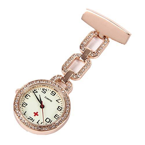 Cxypeng Schwesternuhr für Damen,Hängende Uhr der leuchtenden Krankenschwester Kastenuhr medizinisches Tabellenkursteilnehmer-Taschenuhrprüfung Roségold,Ansteckuhr Krankenschwesteruhr