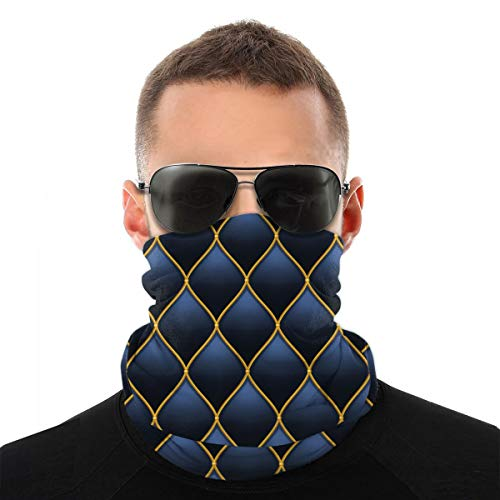magic ship Dark Deep Blue Mit Gold gestepptem Leder Nahtlose Unisex Variety Gesichtstuch Stirnbänder Einsatz Kohlefilter Bandana Neck Gaiter Gesichtsschutz für Staub im Freien
