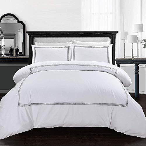 My Home Store Duvet Cover Set Easy Care Soft Polycotton 200TC Hotel Quality Quilt Bedding Set (Brata Stitch Grey/White, King)