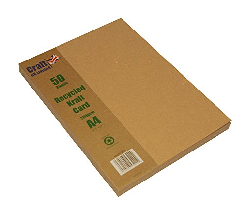 Craft UK 50Hojas Tarjeta de Papel Kraft, Color marrón, tamaño A4, 280g/m²