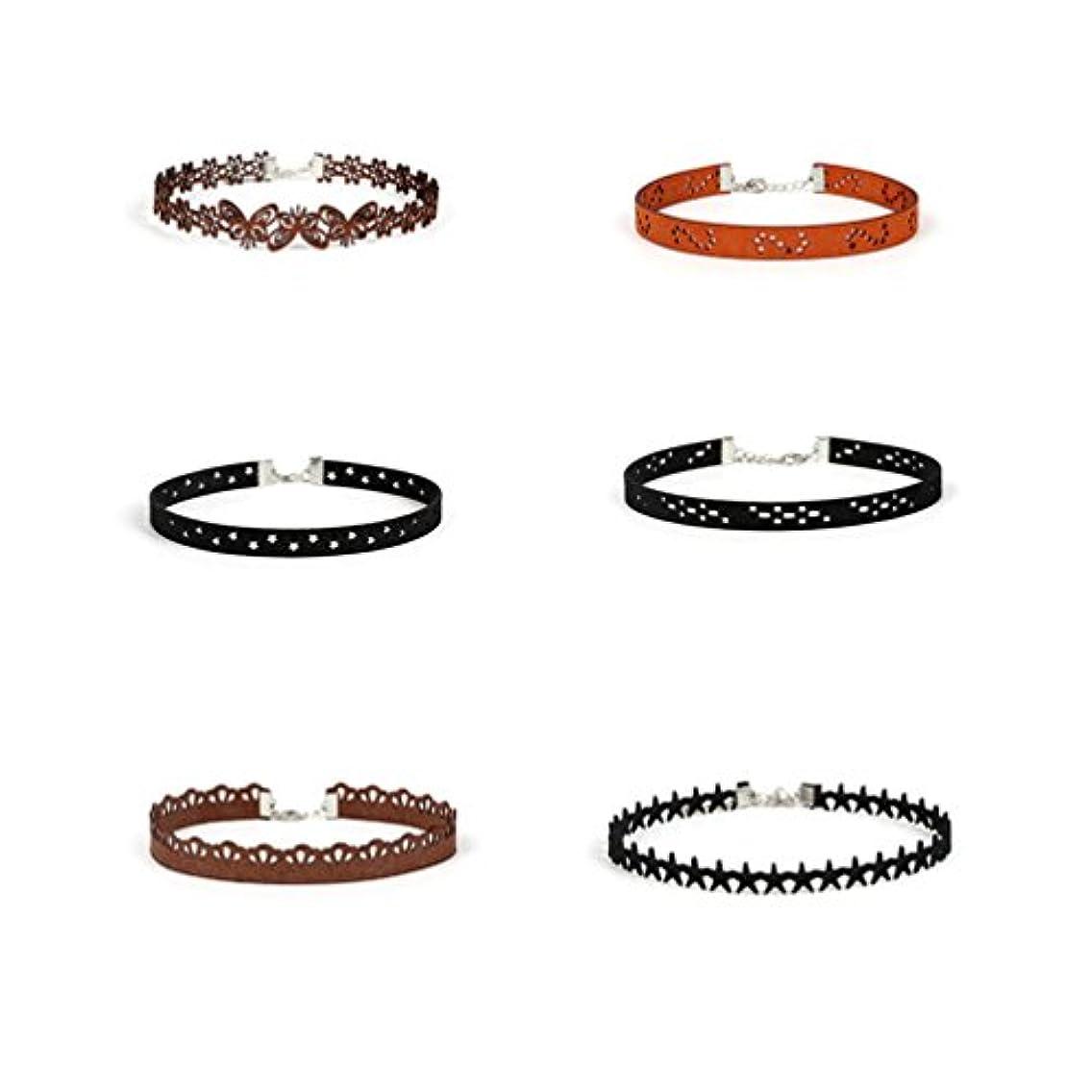 Betret Denim Choker Necklace Fashion Punk Goth Style Chokers for Womens Girls (Style2-6PCS)