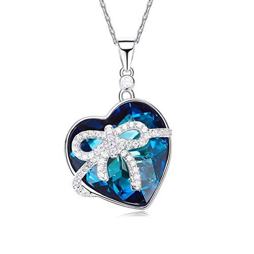 Collar de mujer Swarovski Elements original colgante lazo corazón azul océano y plata punto luz idea moda + caja regalo + certificado CSW-04-C