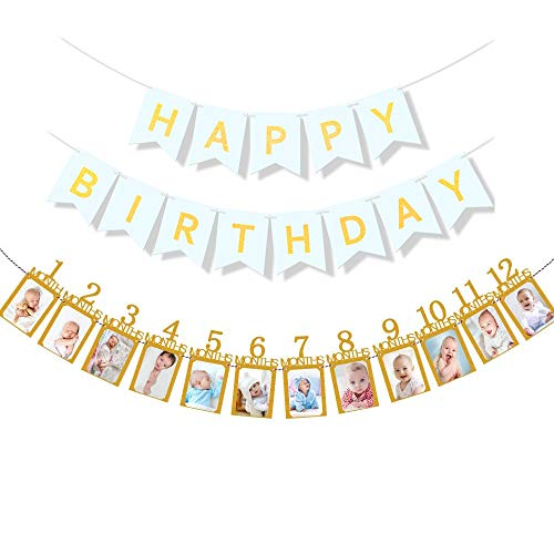 Podinor First Birthday Photo Banner, 12 Month Photo Banner Milestone Monthly Bunting Garland Picture Banner for Baby 1st Birthday Party Decoration (Gold)