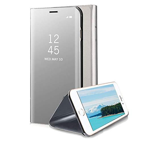 COOVY® Funda para Apple iPhone 7 Aspecto metálico, armazón, Lujosa, Ventana de Espejo Transparente, visión Clara, Soporte   Color Lata