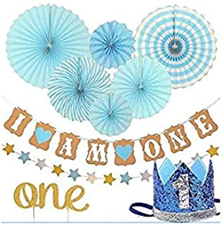 FIRST BIRTHDAY DECORATION SET FOR BOY- 1st Baby Boy Birthday Party, Blue Hat Crown, Circle Dots Paper Garland, Cake Topper...