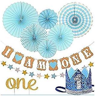 أول حفل عيد ميلاد للفتاة- أول حفلة عيد ميلاد لطفلة ، ستارز غارلاند ، تيك توب كيك ، لون زهري ، وردي فييستا معلقة ورق زهور ،...