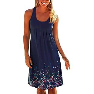 Flying Rabbit Women's Summer Dreess Printing Knielang Sleevelless Round Collar A-Line Beach Dress Loose Summer Dress (m, navy)