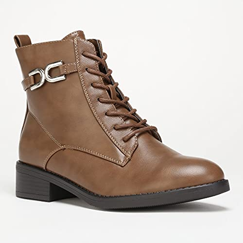 La Modeuse - Botines estilo Rangers con brida metálica, marrón, 39 EU