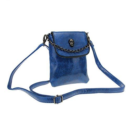 FakeFace FakeFace Damen PU Leder Schultertasche Umhängetasche Clutch Handtasche Henkeltasche mit Totenkopf Handytasche Handbag Crossbody Bag Geschenk für Damen Mädchen (Blau)