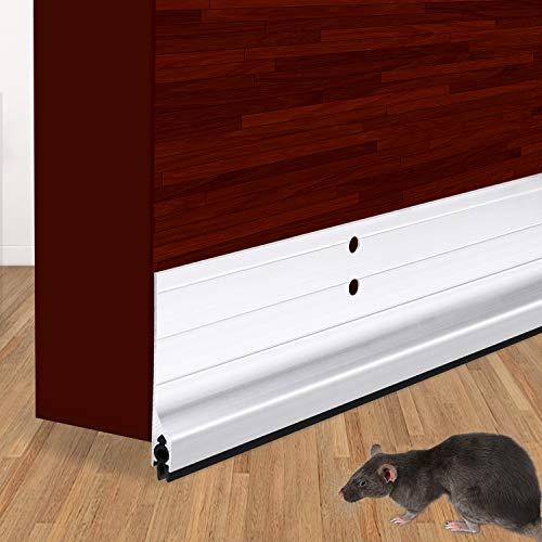 "USUKUE Metal Door Draft Stopper Bottom Mice Seal Strip Noise Blocker, Aluminium Mouse Sweep 2"" W x 36"" L, Silver"