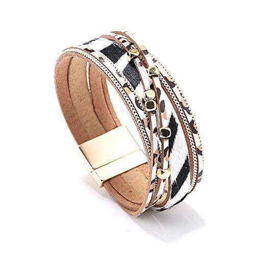 UGBJ Armbänder Schmuck Armband Segeltau Premium Echtlederarmband Personalisiertes Leder Armband Lederarmband mit Leopardenmuster Echte Pferdehaar-Magnetverschlussarmband