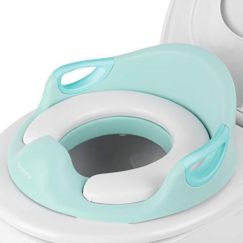 BAMNY WC Trainer, Toiletten-Sitz für Kinder, ergonomisch geformt, sicher und bequem, mit Spritzschutz (Grün+Weiß)
