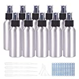 PandaHall 10 Pezzi 100 ml/3,9 Once Bottiglie Spray in Alluminio Spruzzatore per Nebbia fine Bottiglie riutilizzabili in Metallo con tramogge a Imbuto, Pipette, Etichetta Adesiva per Oli Essenziali